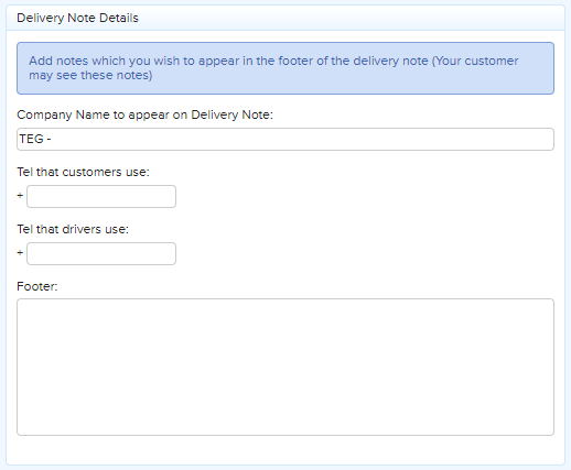 Delivery Note Footer